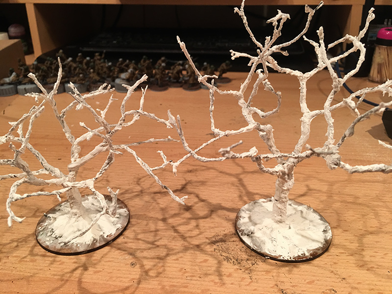 Trees with a coat of filler & glue