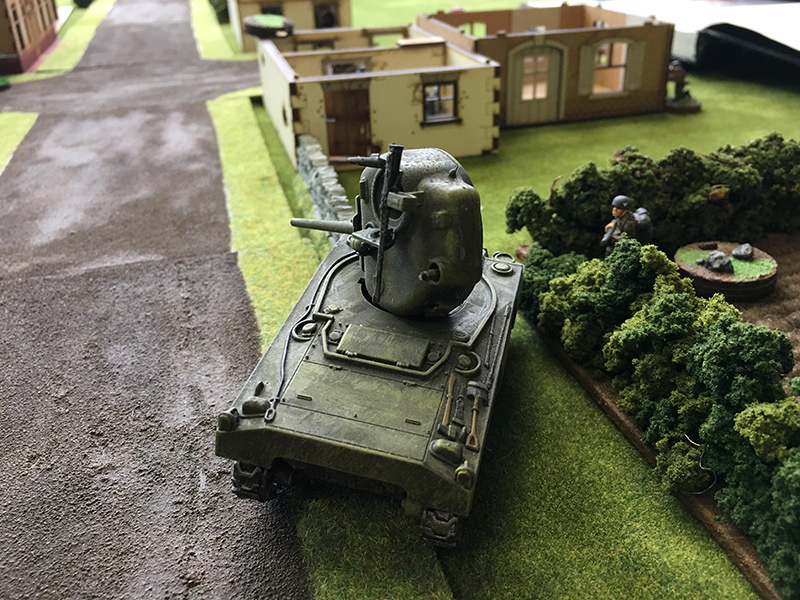 The Sherman gets taken out by a flamethrower