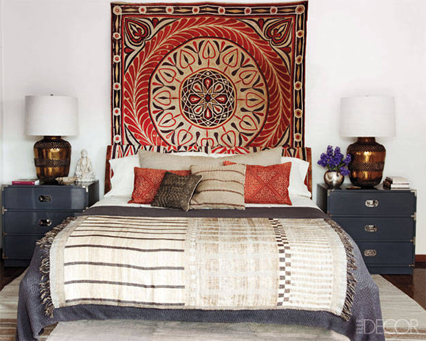 Wild About: African Inspired Interiors by Top Designers on Paint and Pattern. Martyn Lawrence Bullard Designed Bedroom for Ellen Pompeo