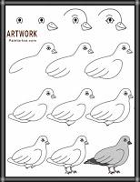 كيفية رسم الحمامة للاطفال