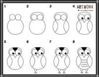 تعليم الرسم للاطفال الصغار عصفور