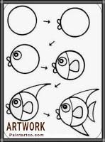 تعليم الرسم للاطفال رسم سمكة