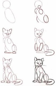 رسم قطة للاطفال بالرصاص