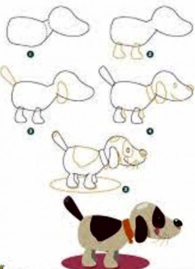 رسومات كلاب ملونة