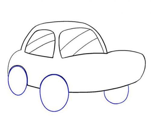 رسم سيارة للاطفال بالخطوات