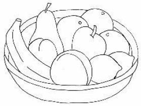 رسومات فواكه ملونة سلة فاكهة بسيطة للتلوين