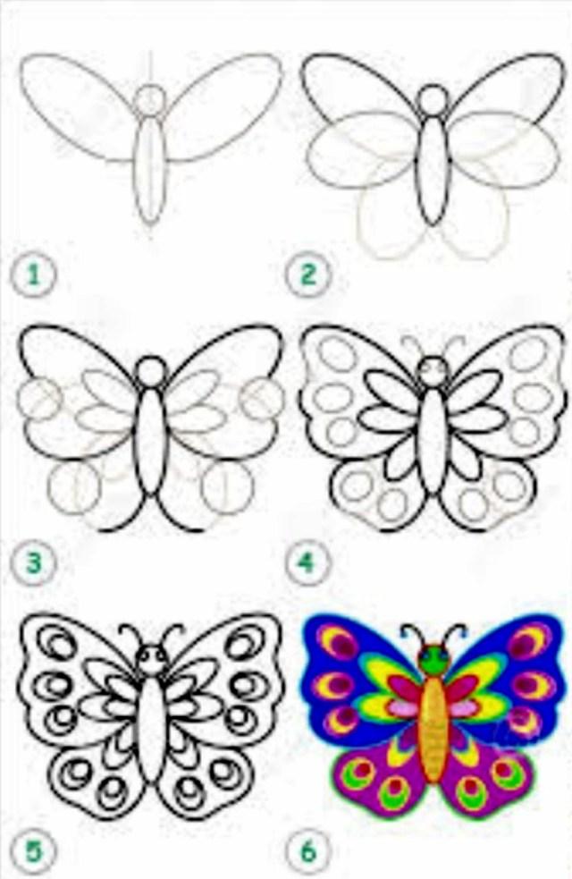 تعليم الرسم للاطفال المبتدئين رسم فراشة ملونة
