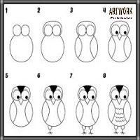 تعليم الرسم للاطفال رسم عصفور على شجرة بالرصاص سهل وبسيط