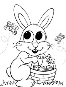 أرنب وفراشات جميلة وكيوت غير ملونة