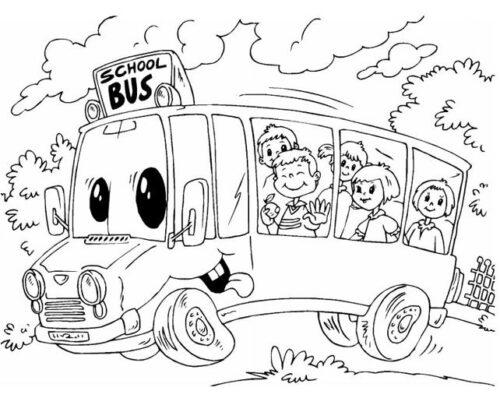 رسومات أطفال للتلوين باص المدرسة