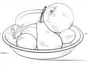 رسمات فاكهة للتلوين طبق فواكه