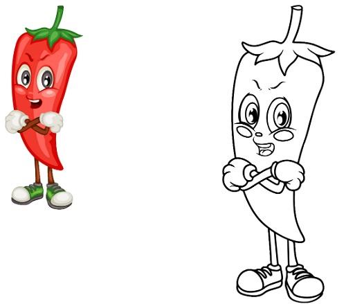 رسمات خضراوات وفاكهة للتلوين فلفل
