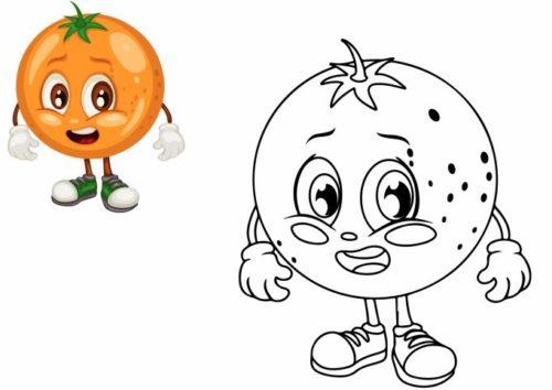 فواكه للتلوين pdf وخضراوات برتقال