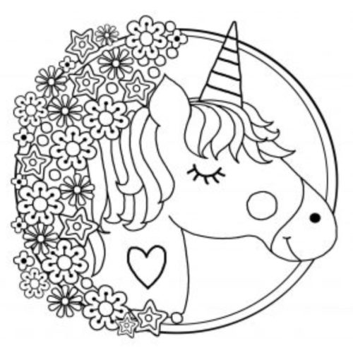 رسمة يونيكورن جميلة وكيوت للتلوين للاطفال