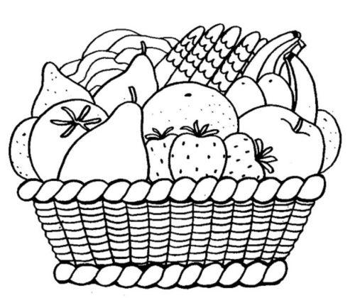رسمة سلة فاكهة للتلوين للأطفال الصغار