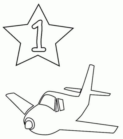 رسومات اطفال تعليمية ملونة تلوين الطائرة ورقم واحد 1