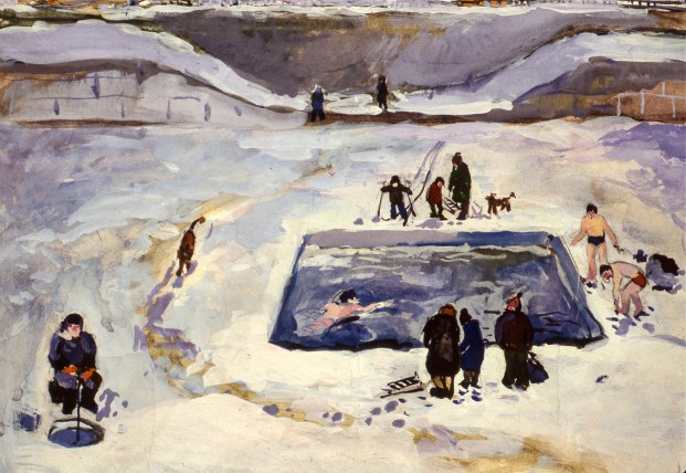 Image of Russians ice-fishing, bathing in cold outdoor pond in snow