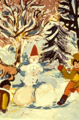 Image of children playing with snowman