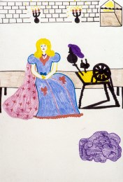 Image of blonde maiden at spinning wheel