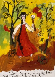 Fairytale image of wicked stepmother holding skull