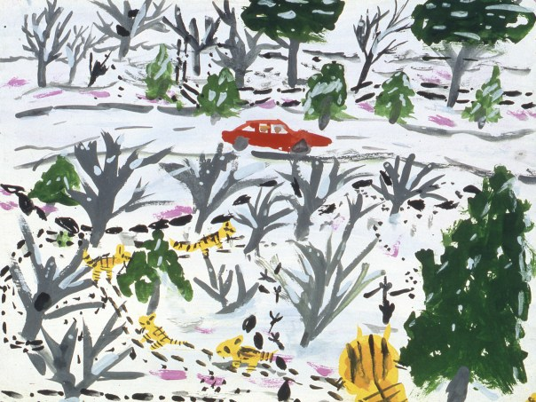 Image of red car driving in snowscape