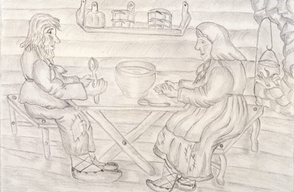 Sketch of a Russian peasant couple eating supper at their table