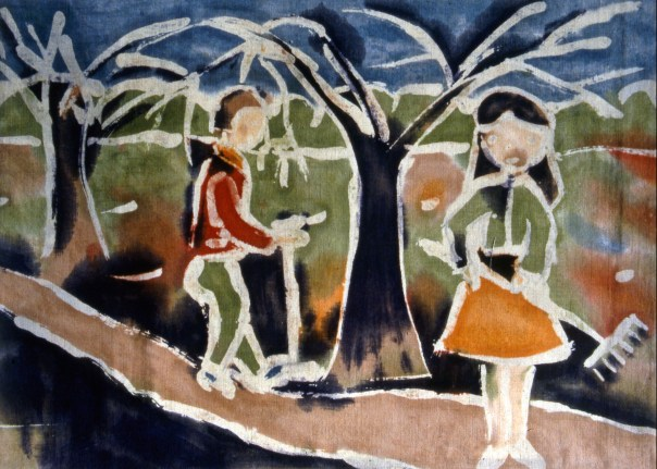 Image of people gardening and raking under trees