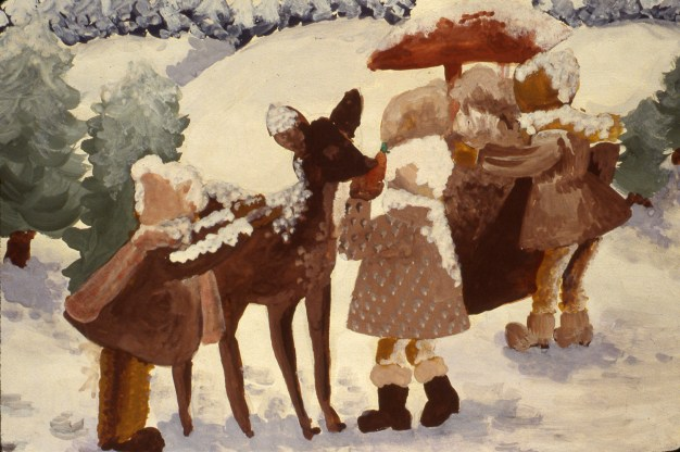 Image of three children with deer in snow