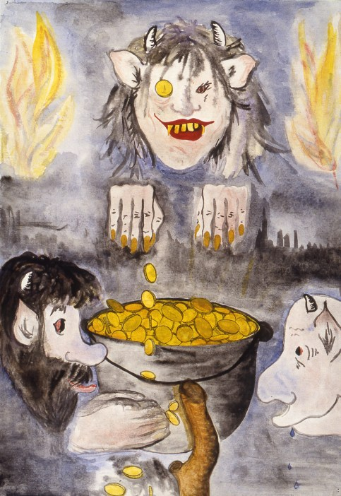 Image of three monsters around a pot of gold coins