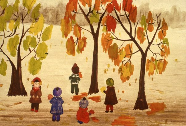 Image of children under trees in autumn