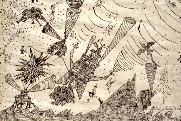 Image of rocketships and alien machines fighting in outer space