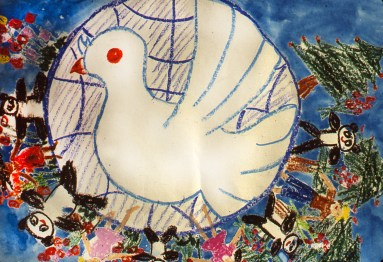 Image of Dove of Peace: Children and Pandas Holding Hands