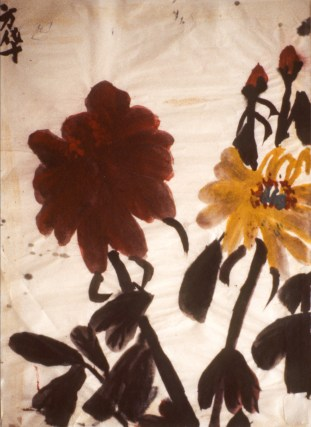 Painting of red and yellow flowers
