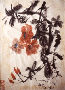 Painting of blossoms in the traditional Chinese style