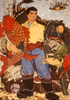 Heroic painting of triumphant fisherman with his catch