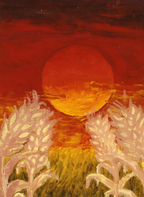 Painting of large sun in a red sky