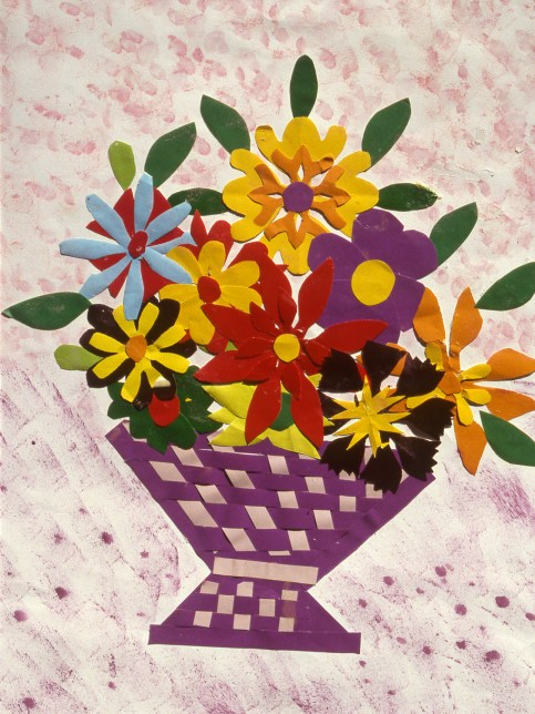 Collage image of flowers in a basket