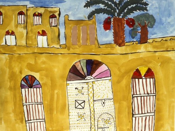 Painting of an old clay building in Bahrain