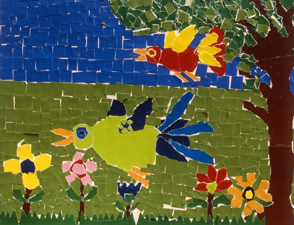 Painting of two birds flying in a garden