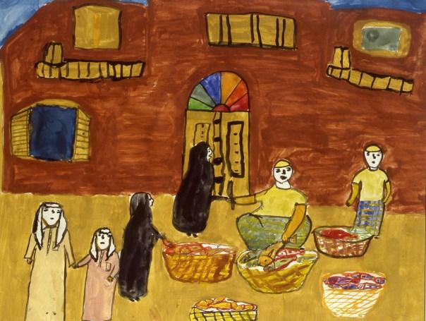 Painting of Bahraini marketplace