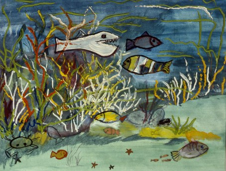 Painting of fish and other undersea life