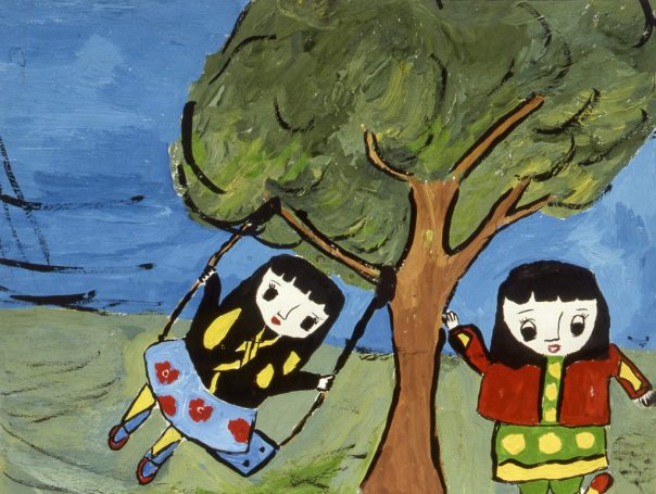 Painting of two children, one swinging in a tree swing