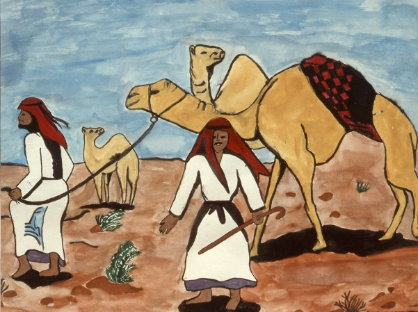 Painting of two Arab men and their camels in the desert