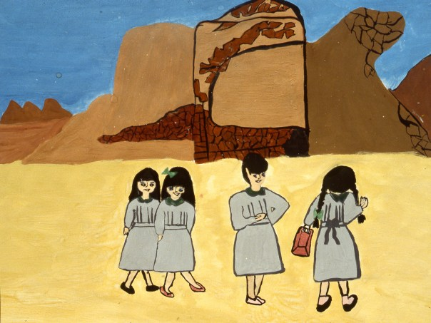 Picture of four schoolgirls visiting a desert fort
