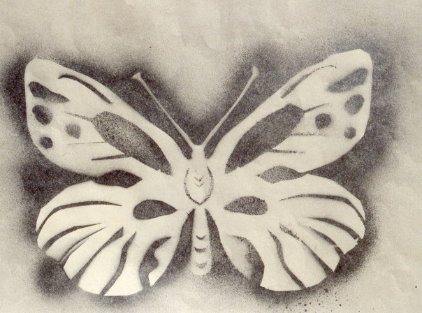 Stencil image of a butterfly, giving the effect of soft shadow