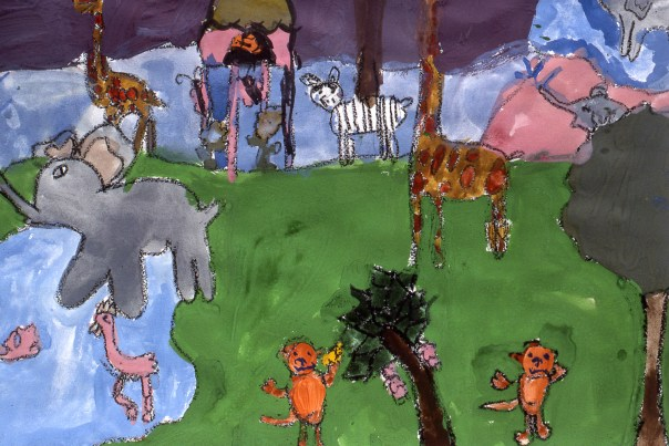 Painting of numerous jungle animals living in harmony at the riverside