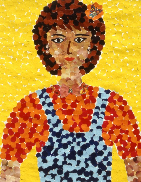 Paper mosaic image of a girl