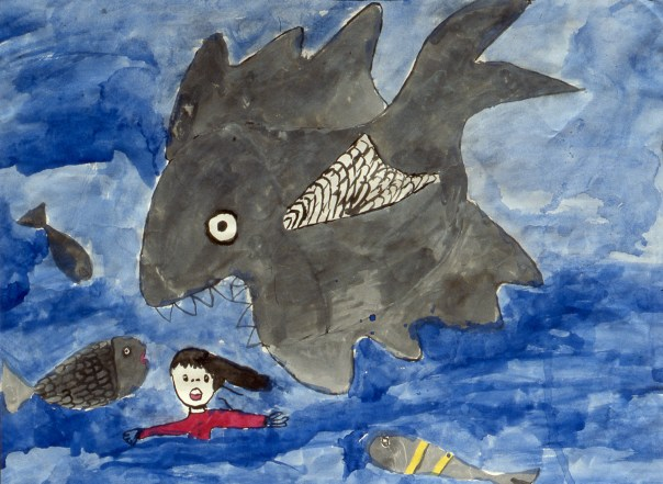 Painting of child floating in water being attacked by sharks and fish - a dream image