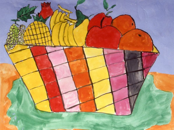 Painting of various fruit in a basket