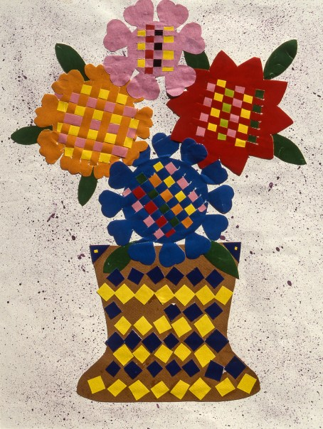 Paper collage of still-life flowers in vase